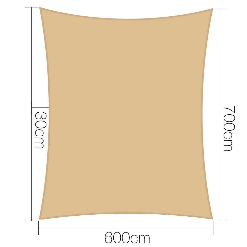 Instahut 6x7m280gsm Shade Sail Sun Shadecloth Canopy Square