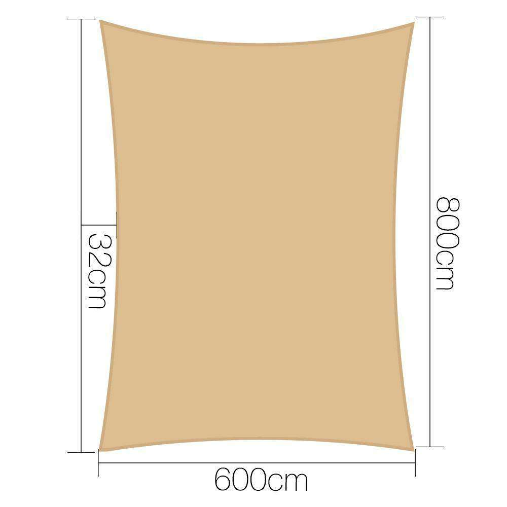 Instahut 6x8m 280gsm Shade Sail Sun Shadecloth Canopy Square