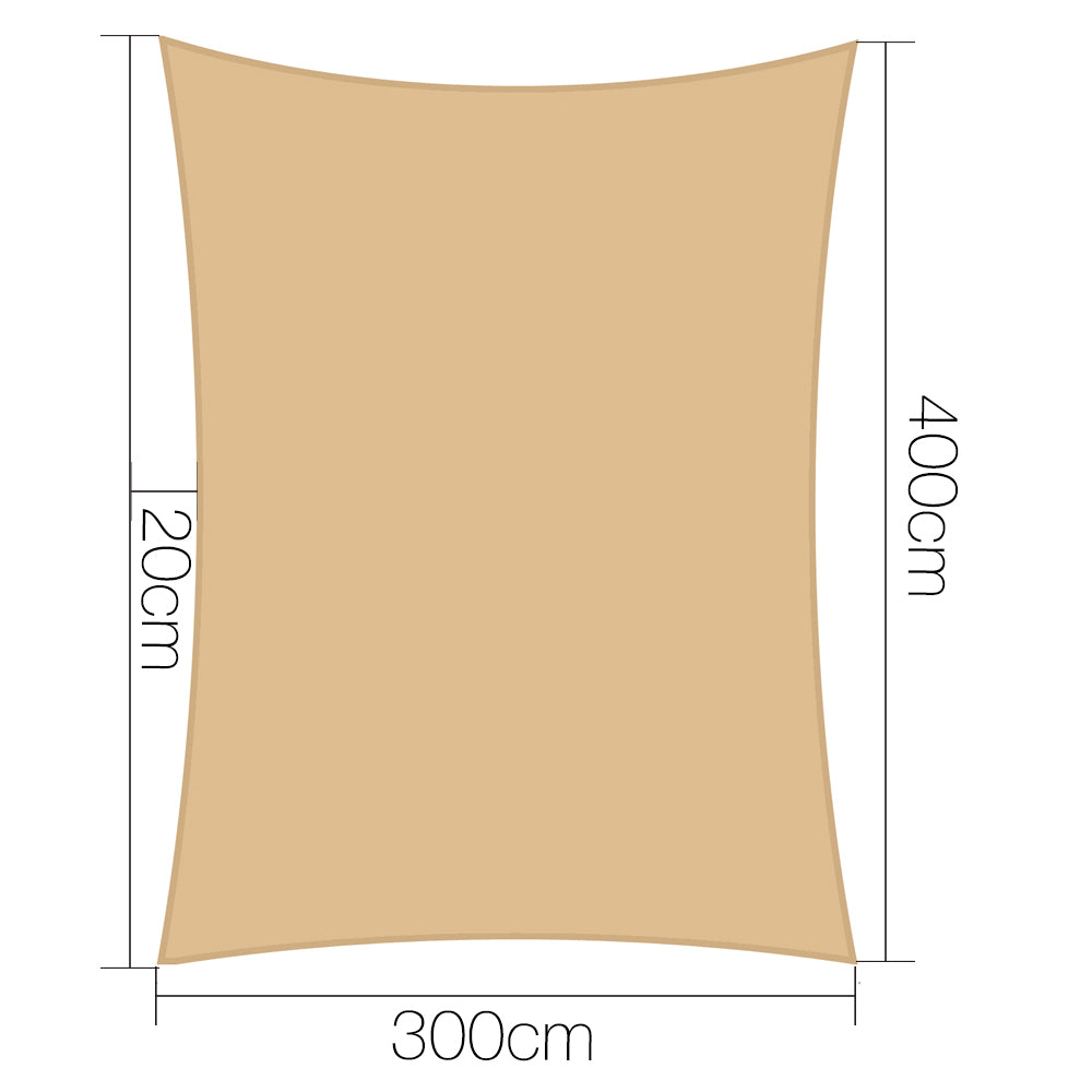 Instahut Shade Sail Cloth Sun Canopy 3x4m