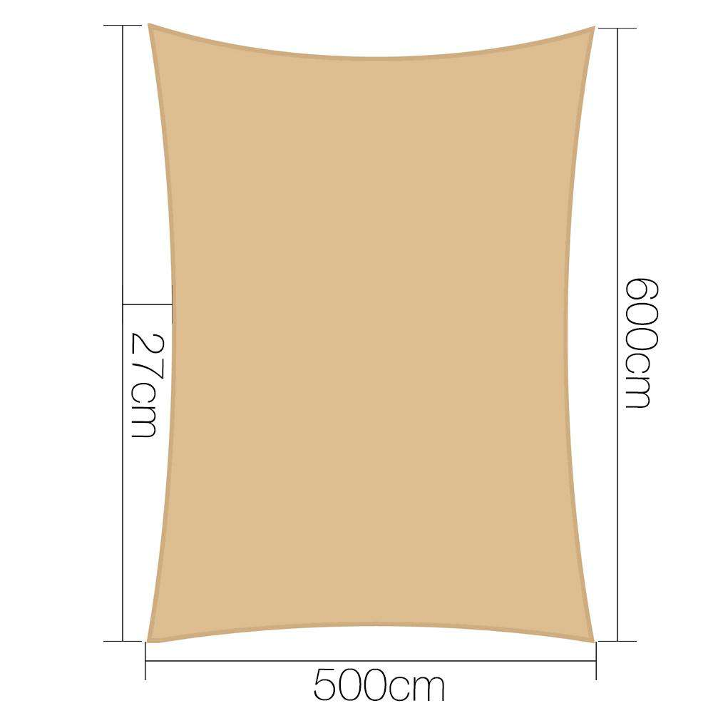 Instahut Shade Sail Cloth Rectangle Shadesail Heavy Duty Sand Sun Canopy 5x6m