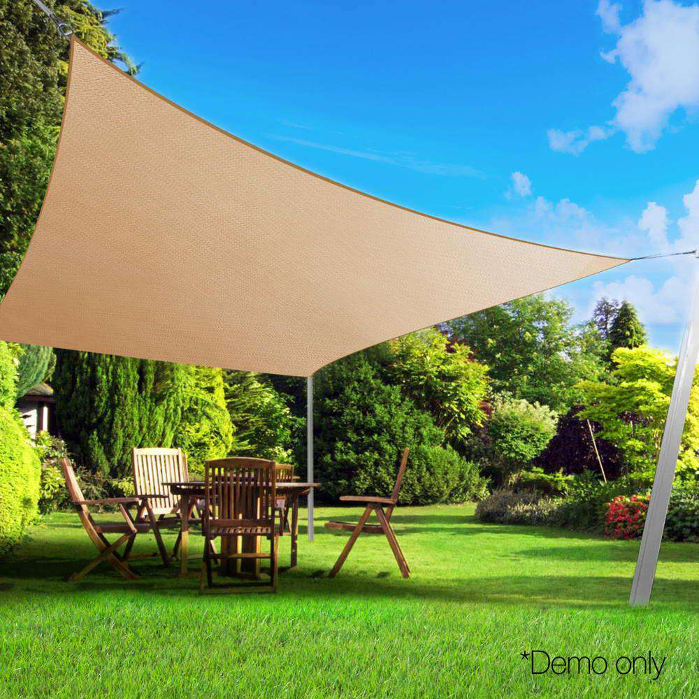Instahut Shade Sail Cloth Rectangle Shadesail Heavy Duty Sand Sun Canopy 6x6m
