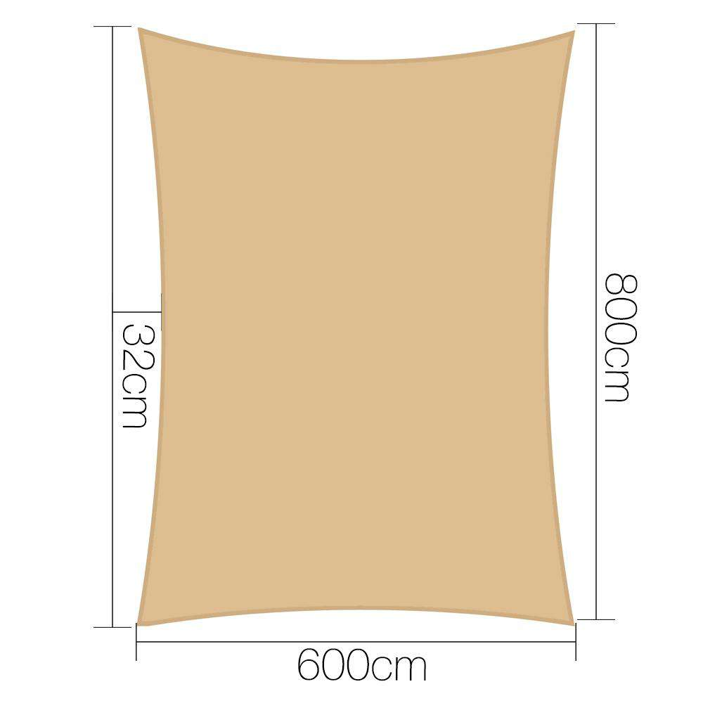 Instahut Shade Sail Cloth Rectangle Shadesail Heavy Duty Sand Sun Canopy 6x8m