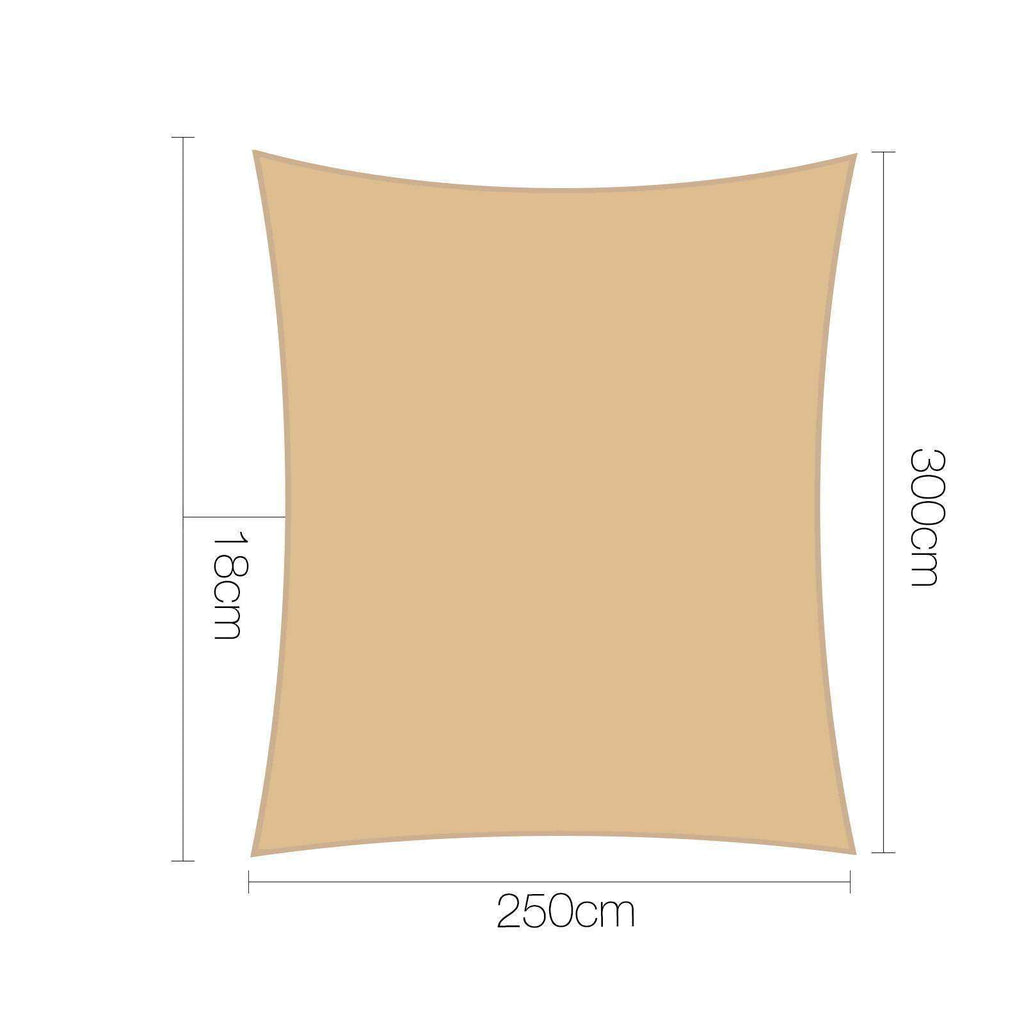 Heavy Duty Water Proof Shade Sail Canopy 2.5 x 3M Sand - Desirable Home Living