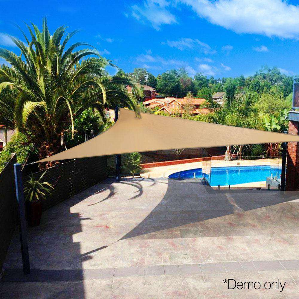 Heavy Duty Shade Sail Canopy 5 x 5 x 5 M Sand - Desirable Home Living