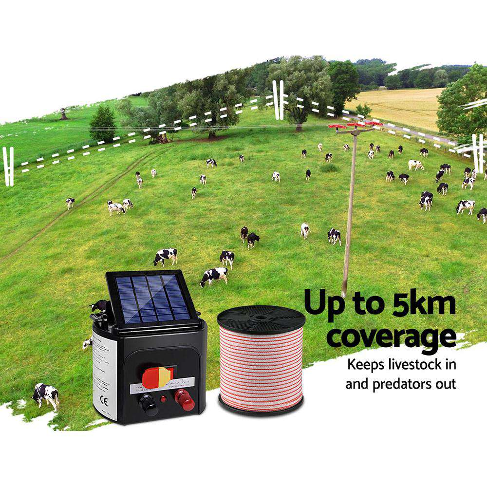 Giantz 5km Solar Electric Fence Energiser Charger with 400M Tape and 25pcs Insulators