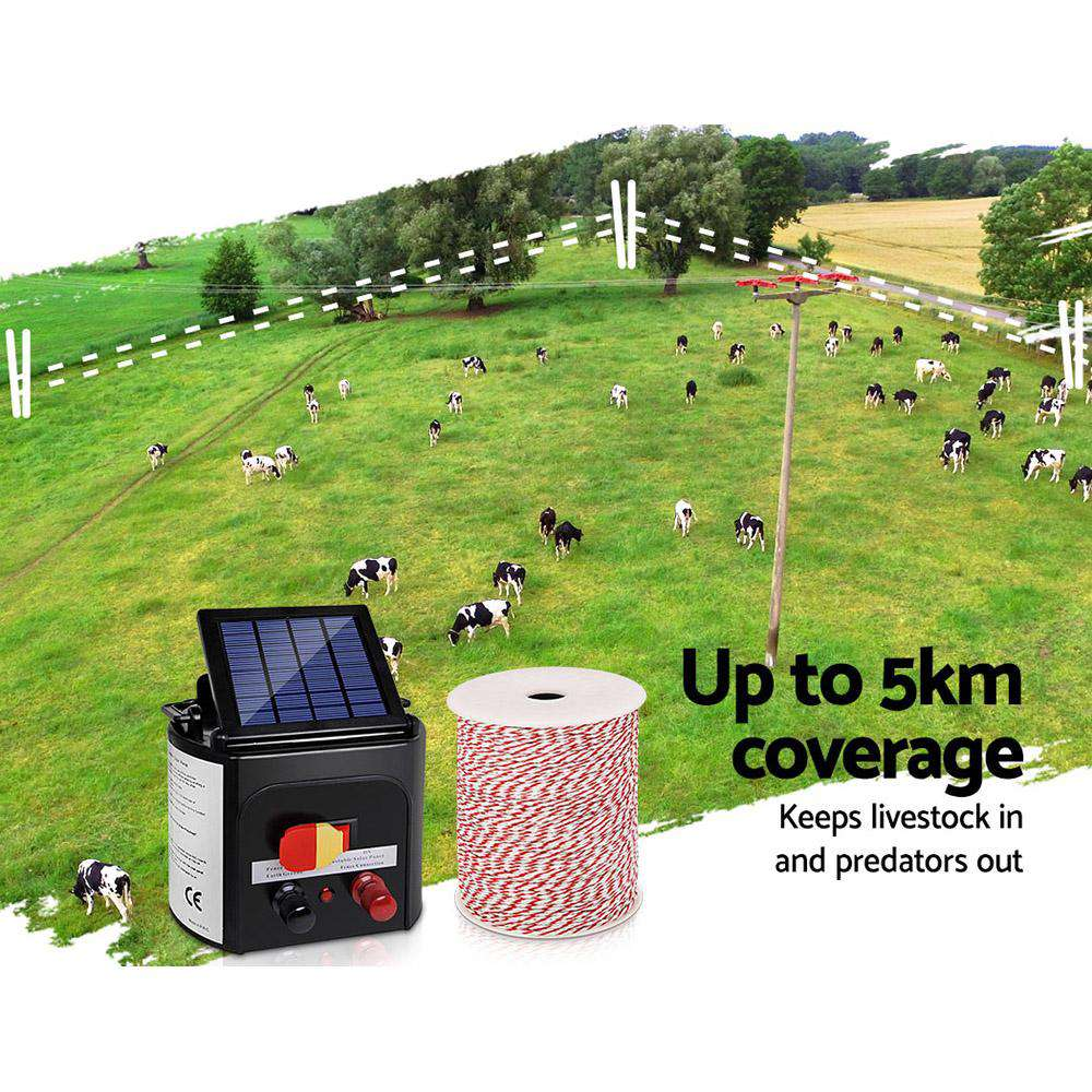 Giantz 5km Solar Electric Fence Energiser Charger with 500M Tape and 25pcs Insulators