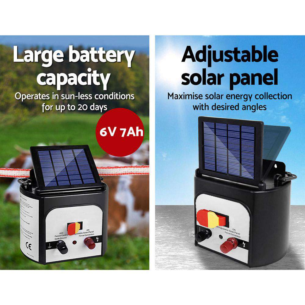 Giantz 8km 0.3J Solar Electric Fence Energiser Energizer Charger with 400M Tape