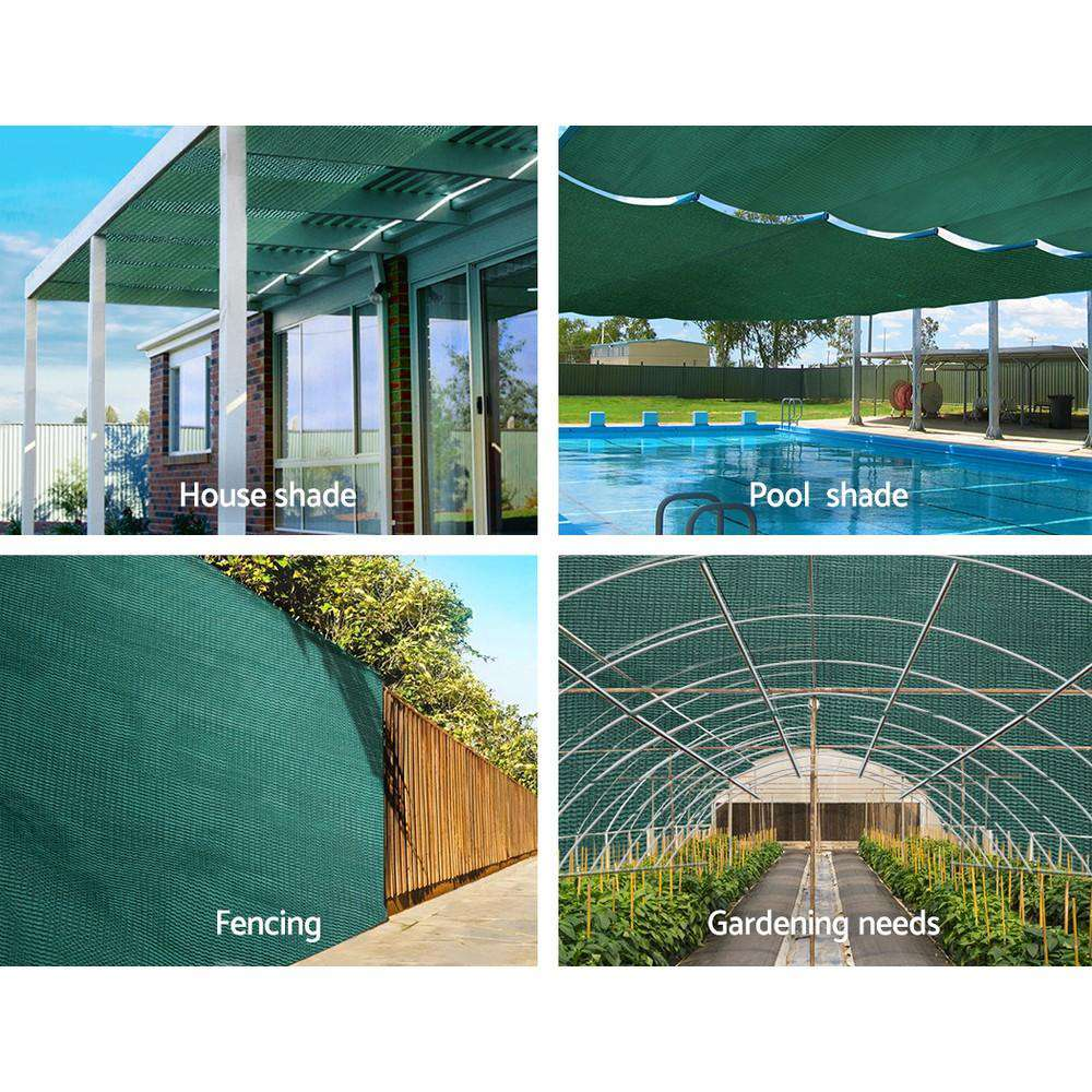Instahut 1.83x10m 30% UV Shade Cloth Shadecloth Sail Garden Mesh Roll Outdoor Green