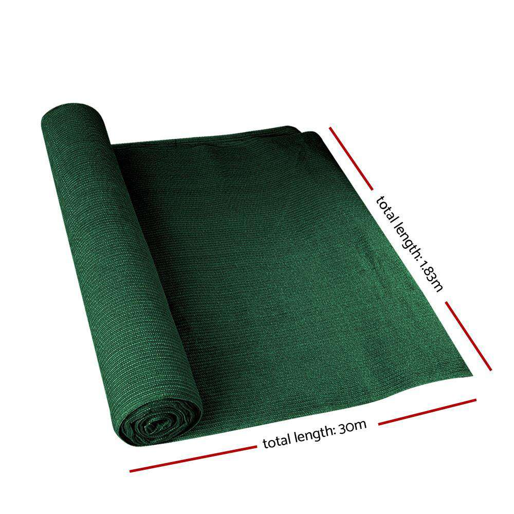 Instahut 90% Sun Shade Cloth Shadecloth Sail Roll Mesh 1.83x30m 195gsm Green
