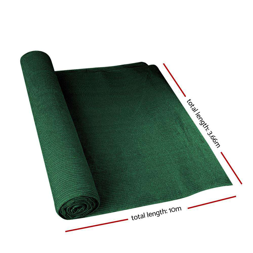 Instahut 90% Sun Shade Cloth Shadecloth Sail Roll Mesh 3.66x10m 195gsm Green