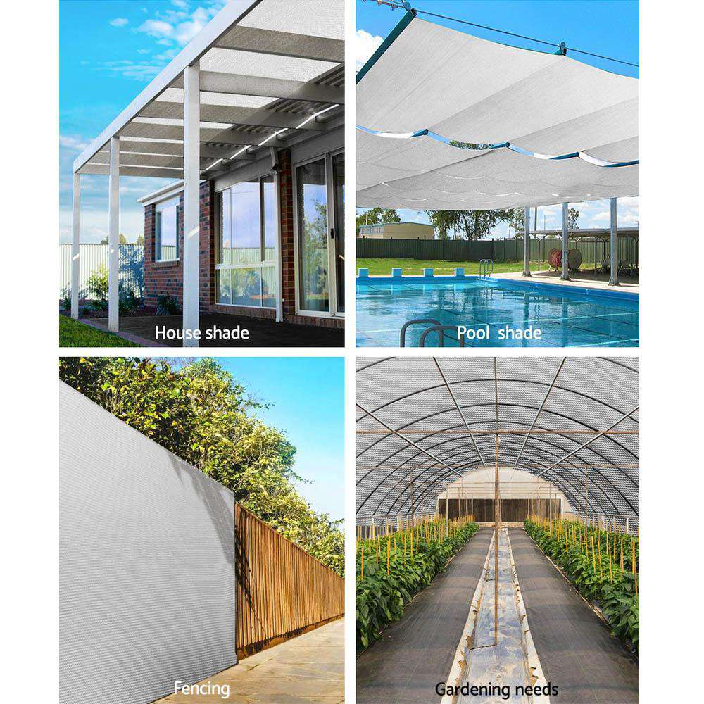 Instahut 3.66x10m 30% UV Shade Cloth Shadecloth Sail Garden Mesh Roll Outdoor White