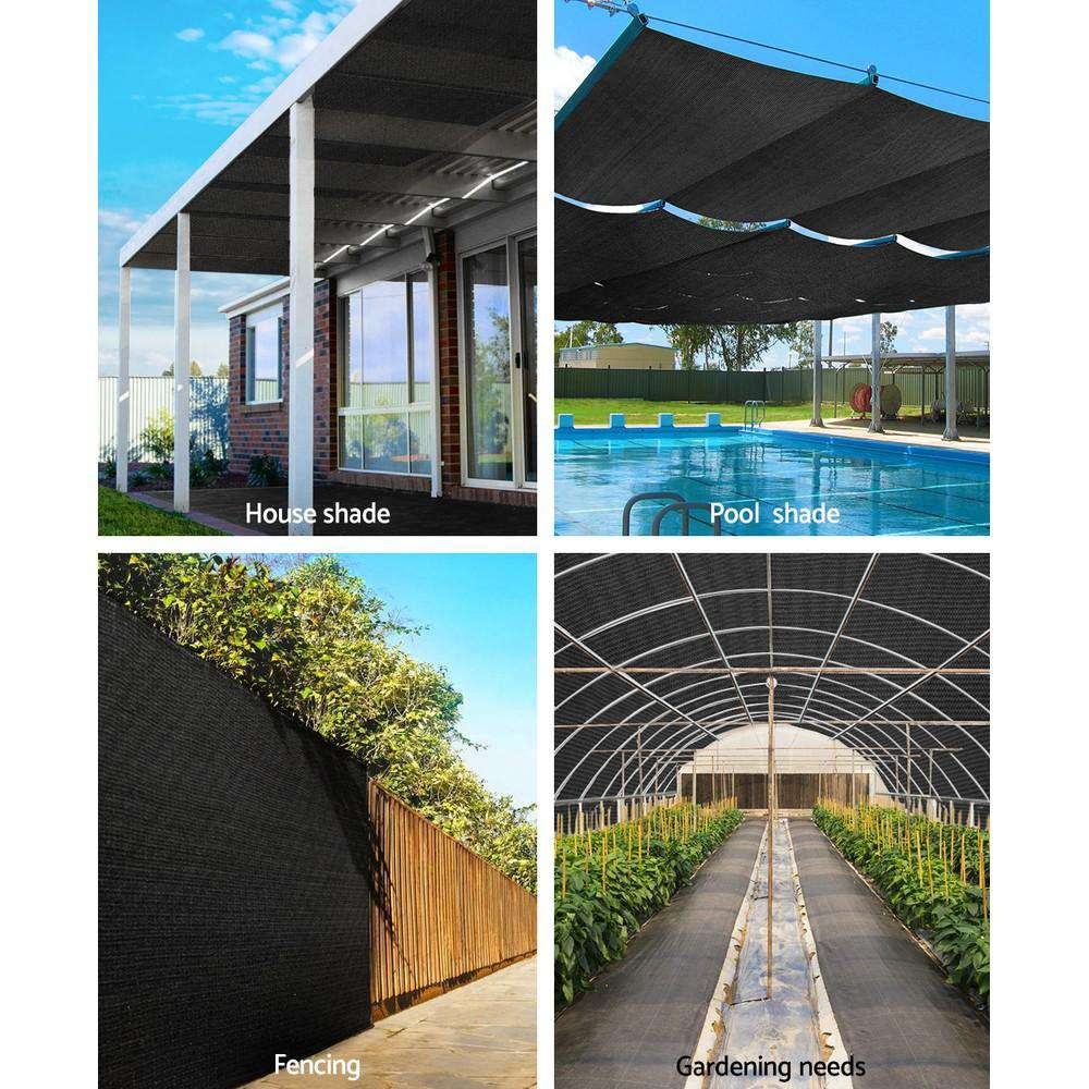 Instahut 3.66x20m 30% UV Shade Cloth Shadecloth Sail Garden Mesh Roll Outdoor Black