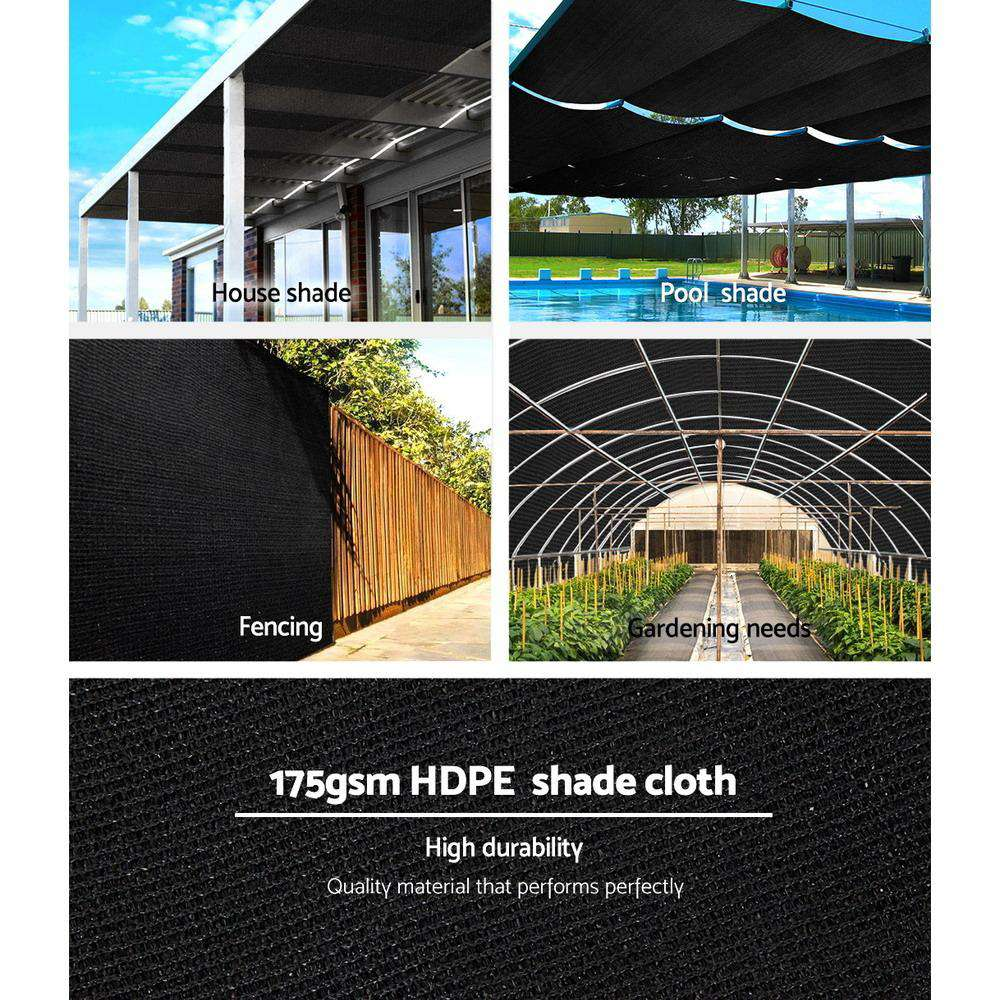 Instahut 70% UV Sun Shade Cloth Shadecloth Sail Roll Mesh Garden Outdoor 3.66x30m Black