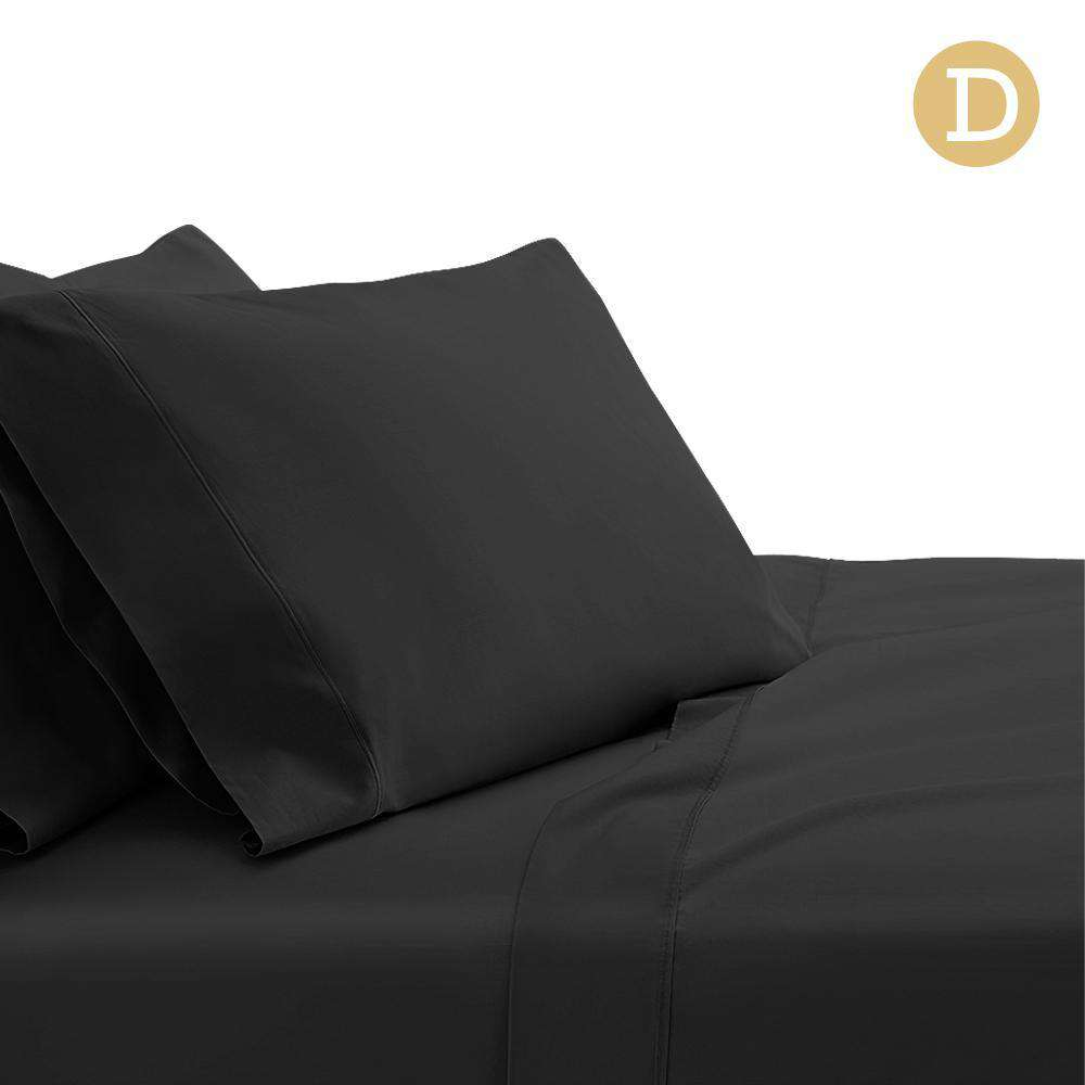 4 Piece Cotton Bed Sheet Set Double Black
