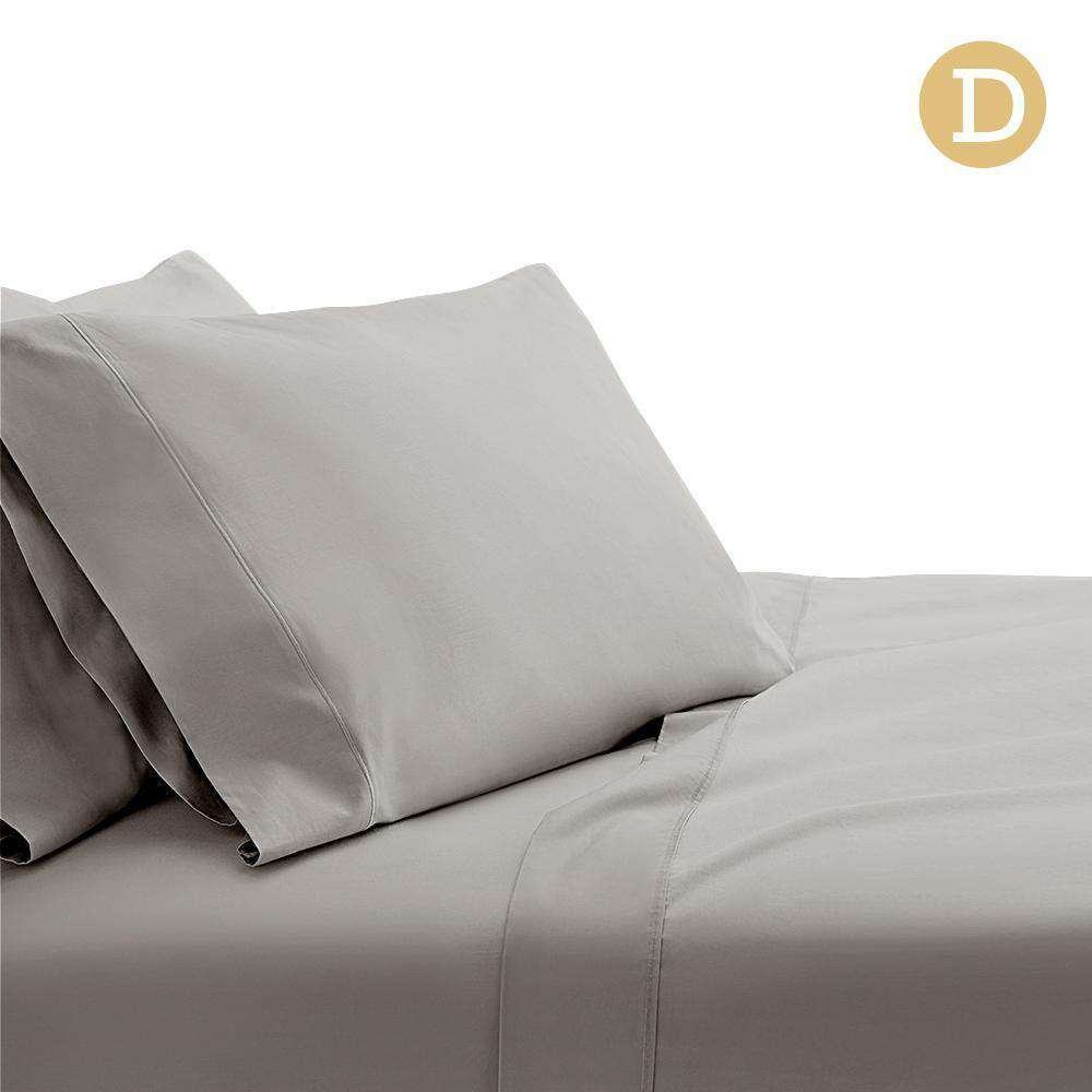 4 Piece Cotton Bed Sheet Set Double Grey