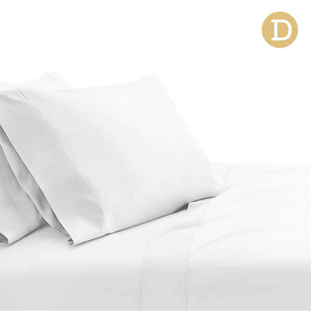 4 Piece Cotton Bed Sheet Set Double White