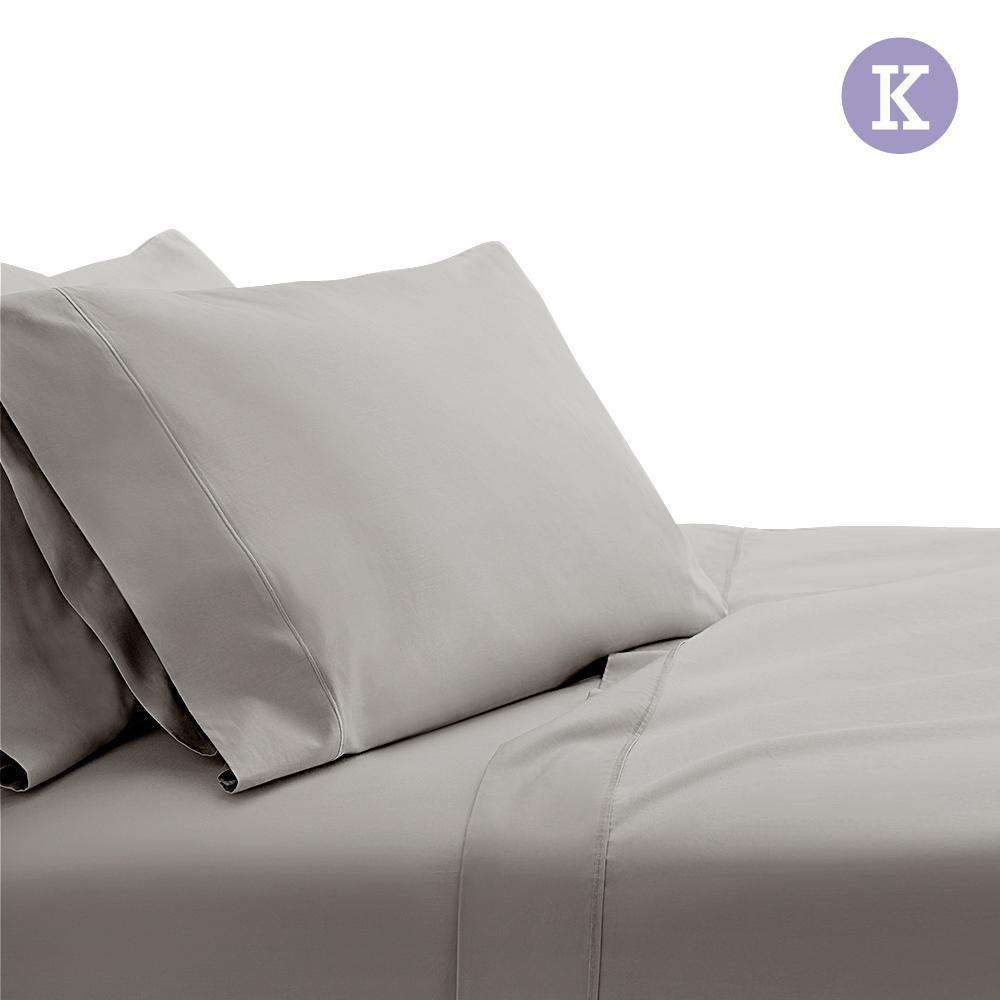 4 Piece Cotton Bed Sheet Set King Grey