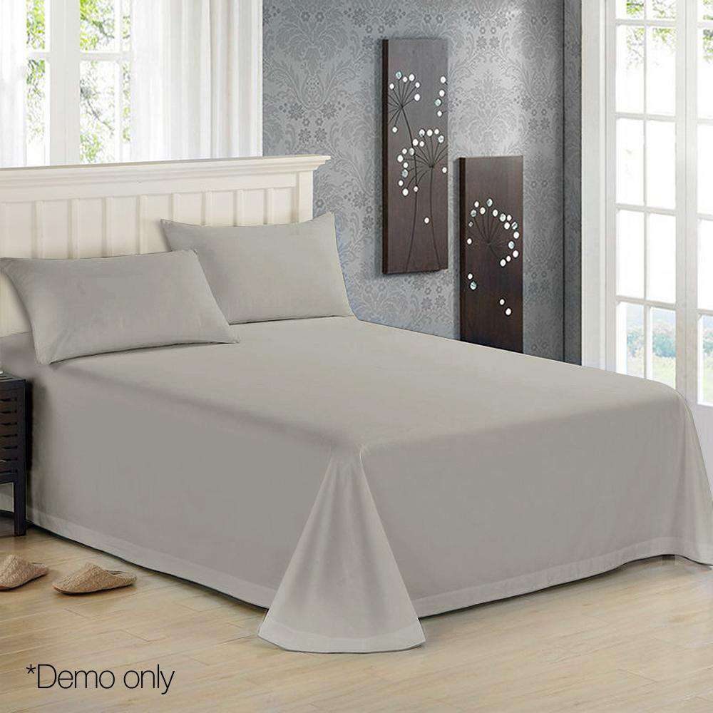 4 Piece Cotton Bed Sheet Set King Grey - Desirable Home Living