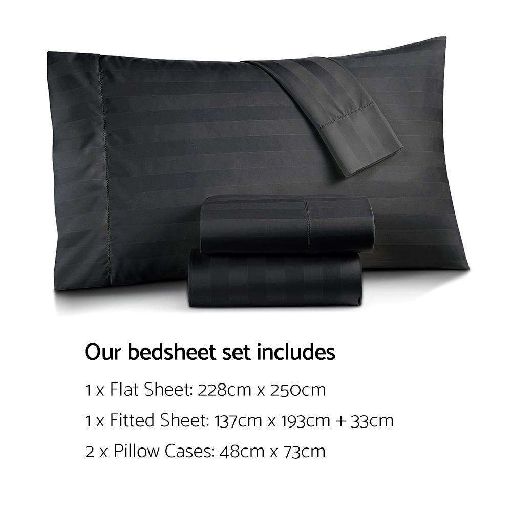 4 Piece Cotton Bed Sheet Set Double Black - Desirable Home Living
