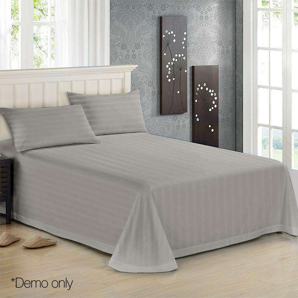 4 Piece Cotton Bed Sheet Set Double Grey - Desirable Home Living