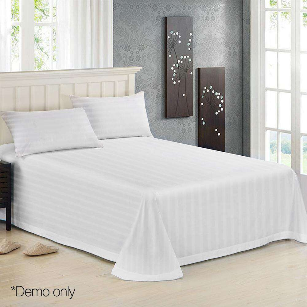 4 Piece Cotton Bed Sheet Set Double White - Desirable Home Living
