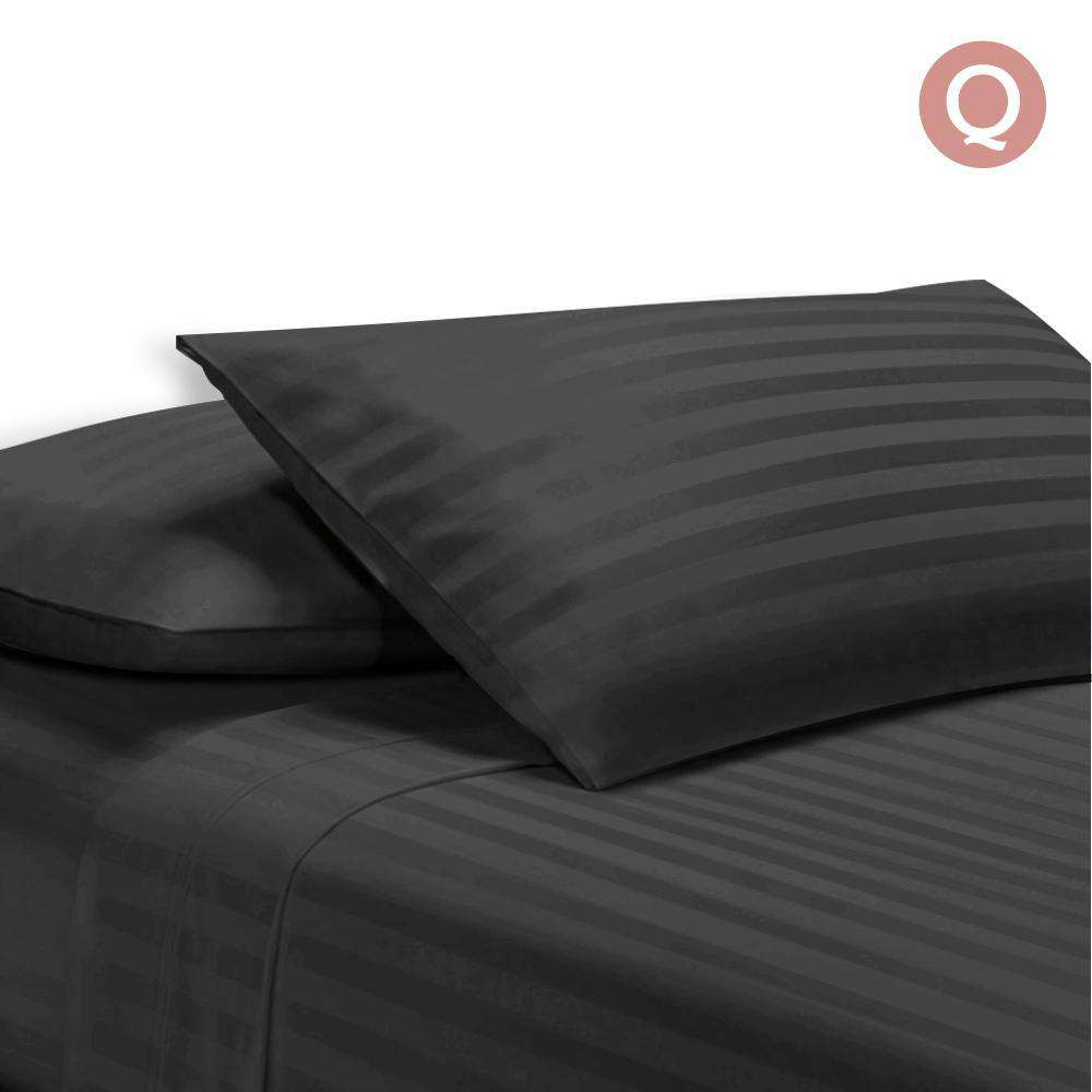 4 Piece Cotton Bed Sheet Set Queen Black