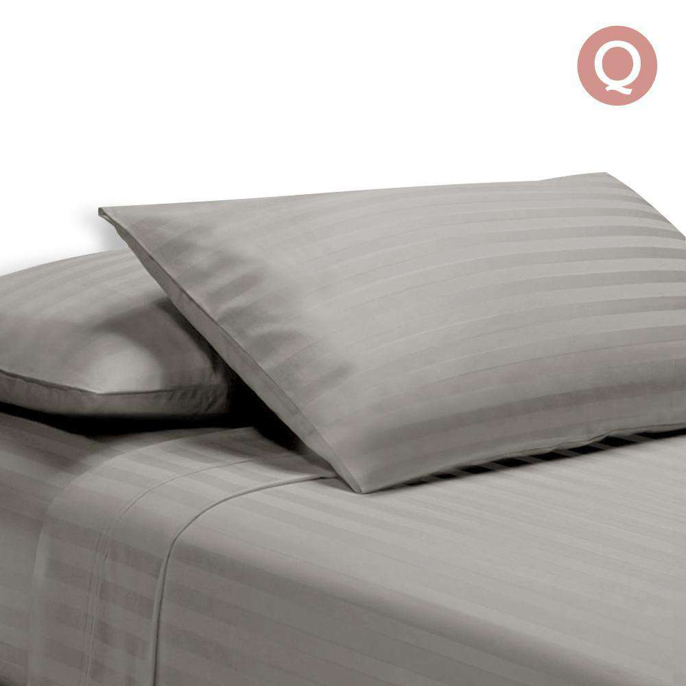 4 Piece Cotton Bed Sheet Set Queen Grey