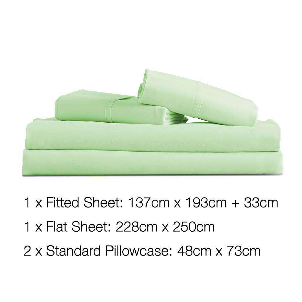 4 Piece Microfibre Sheet Set Double– Green - Desirable Home Living