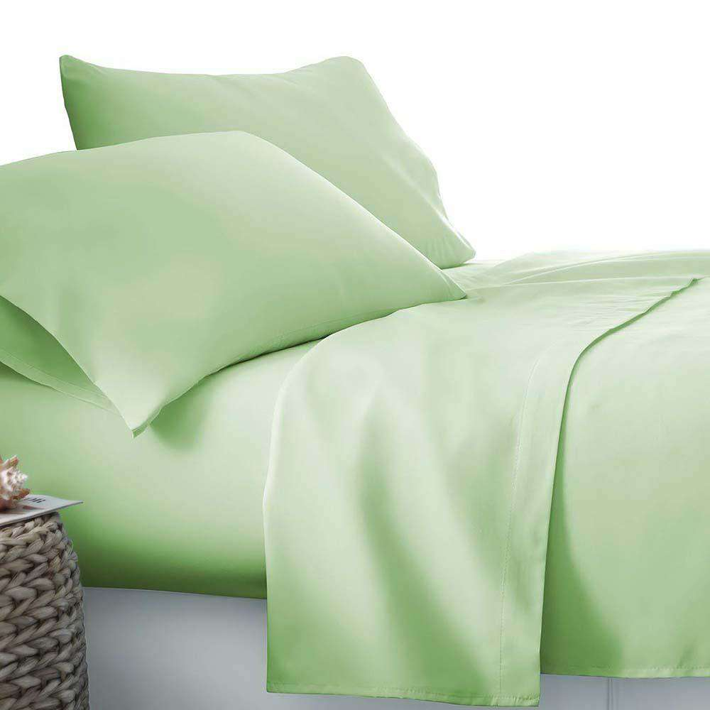 4 Piece Microfibre Sheet Set King – Green - Desirable Home Living