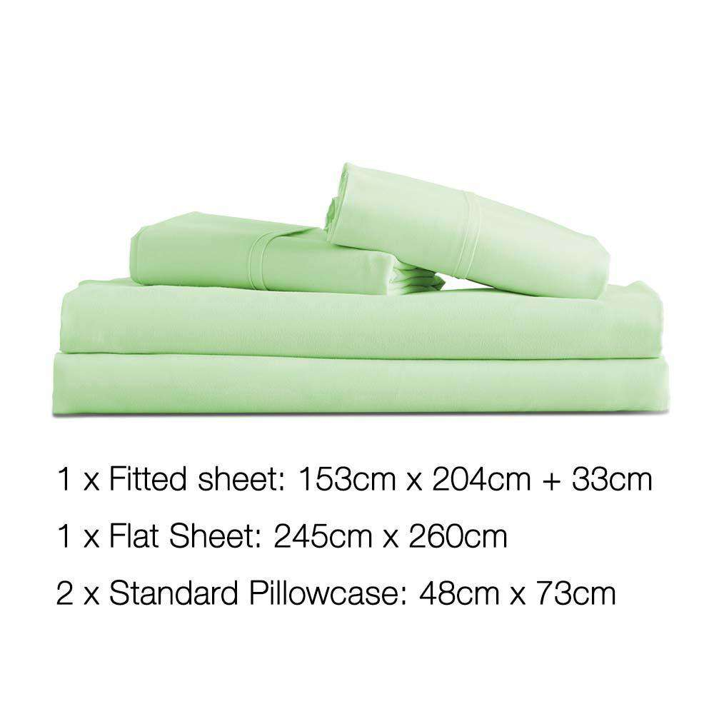 4 Piece Microfibre Sheet Set Queen – Green - Desirable Home Living