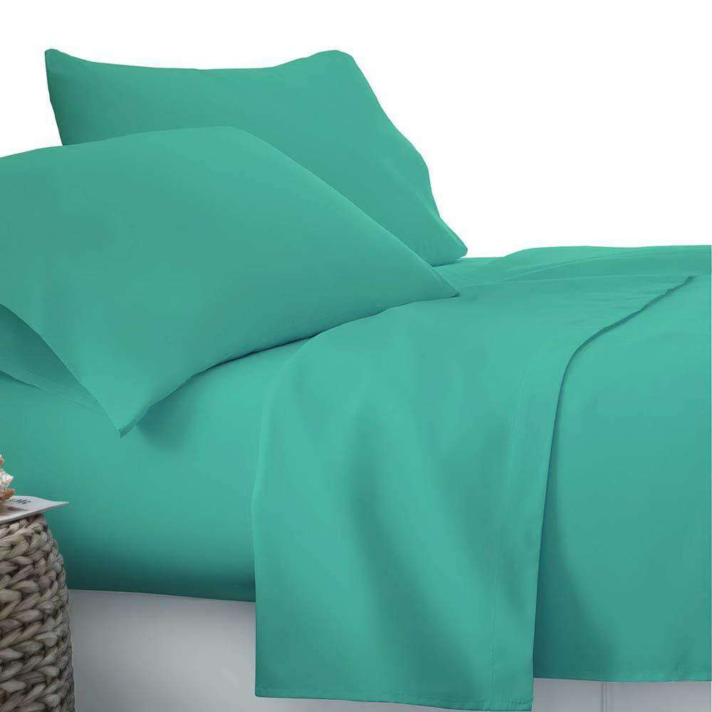 4 Piece Microfibre Sheet Set Double– Aqua - Desirable Home Living