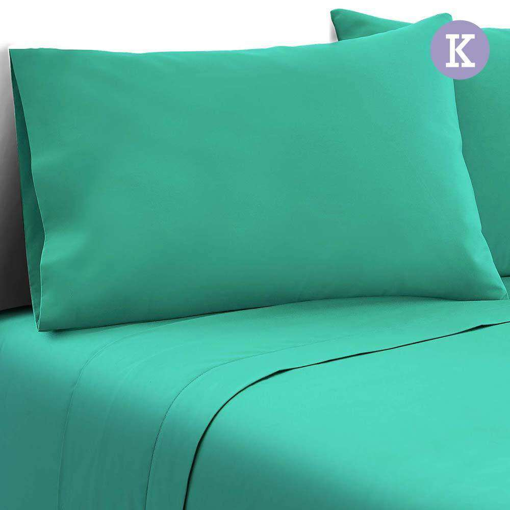 4 Piece Microfibre Sheet Set King – Aqua