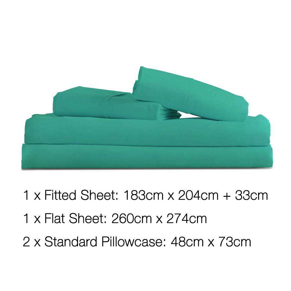 4 Piece Microfibre Sheet Set King – Aqua - Desirable Home Living