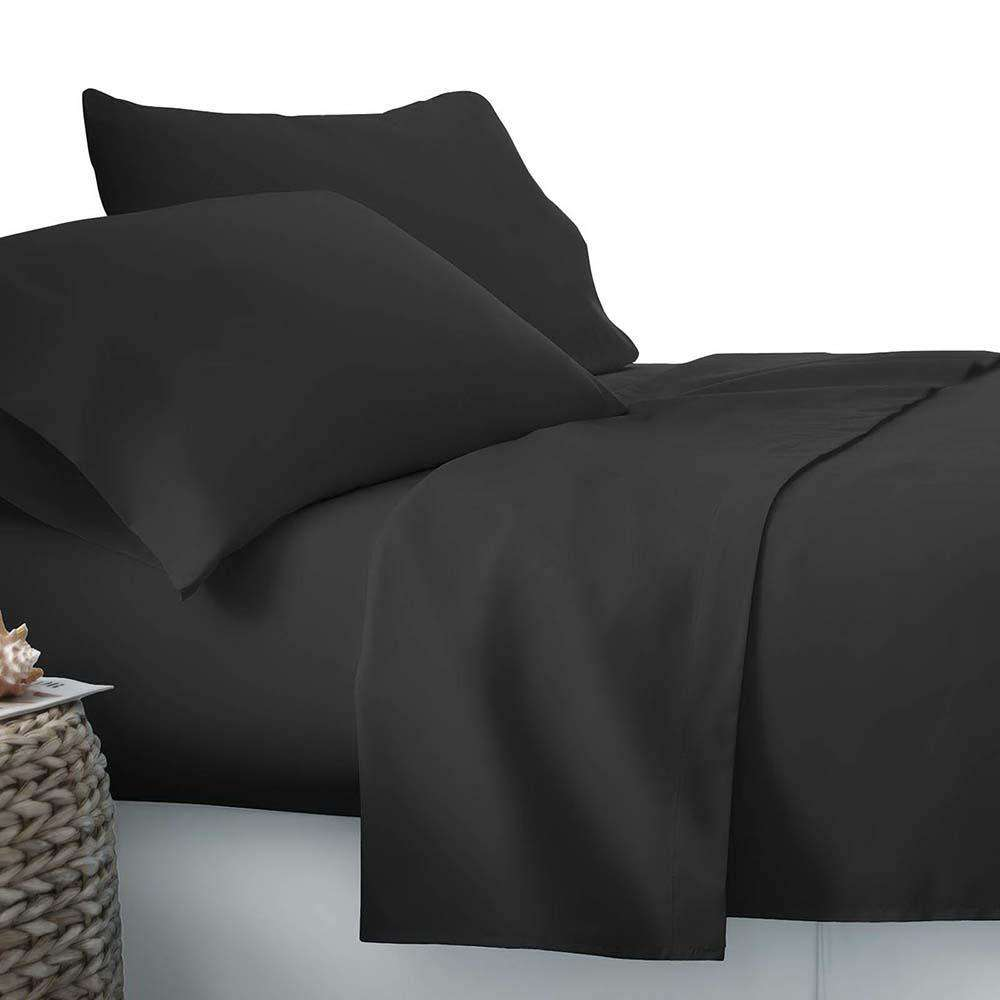 4 Piece Microfibre Sheet Set Double– Black - Desirable Home Living