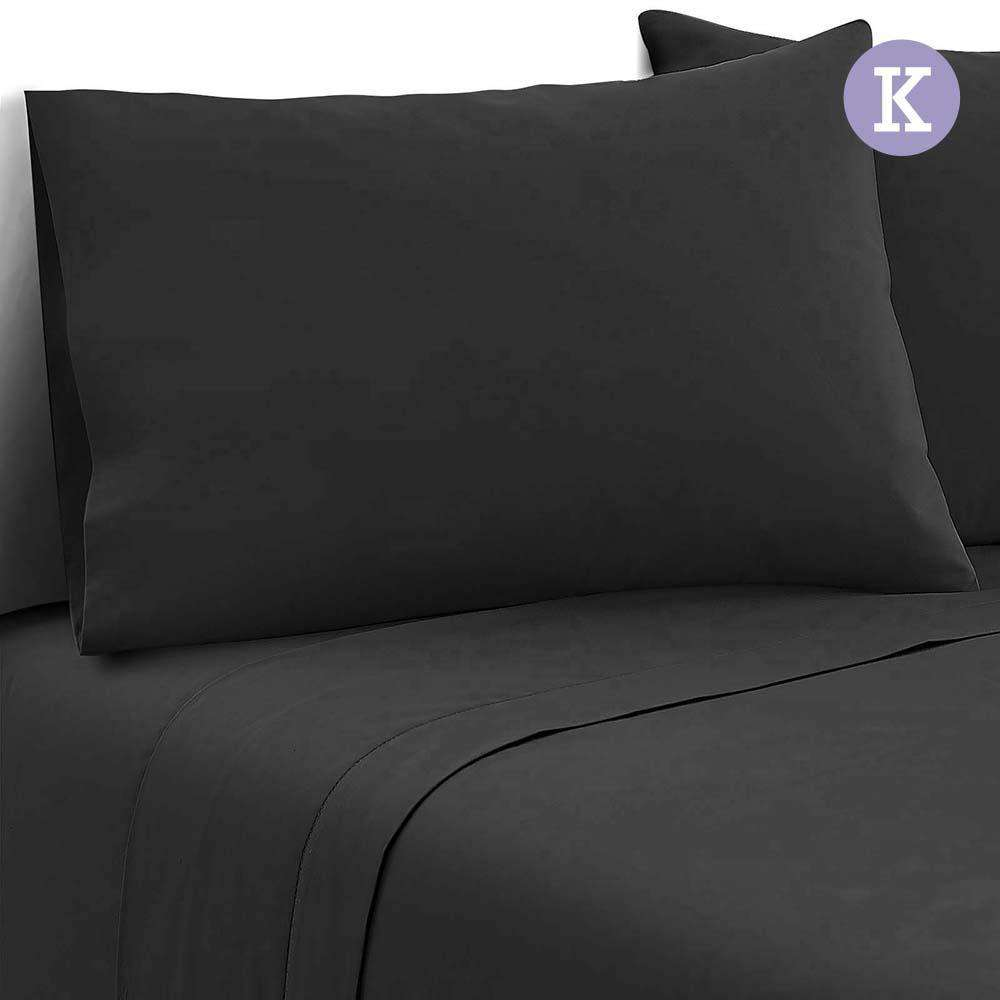 4 Piece Microfibre Sheet Set King – Black