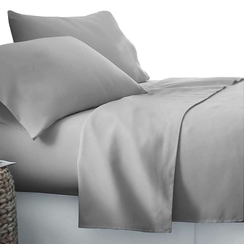 4 Piece Microfibre Sheet Set Double– Grey - Desirable Home Living