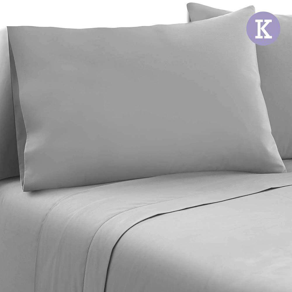4 Piece Microfibre Sheet Set King –  Grey