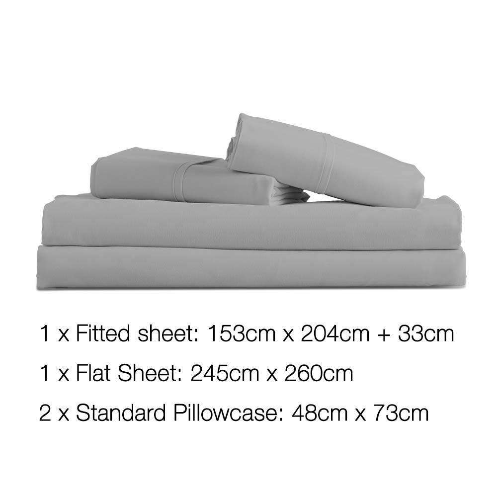 4 Piece Microfibre Sheet Set Queen –  Grey - Desirable Home Living