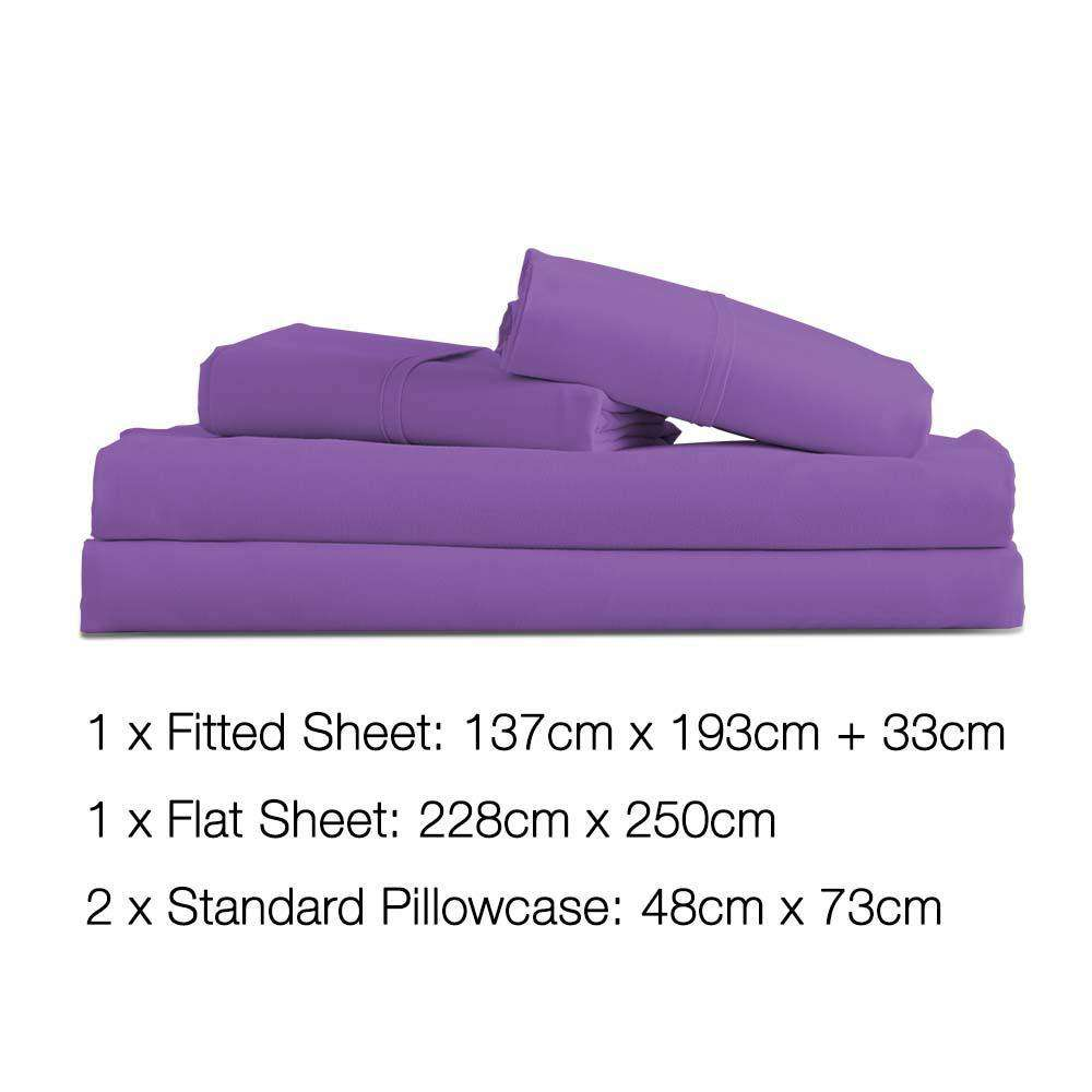 4 Piece Microfibre Sheet Set Double– Purple - Desirable Home Living