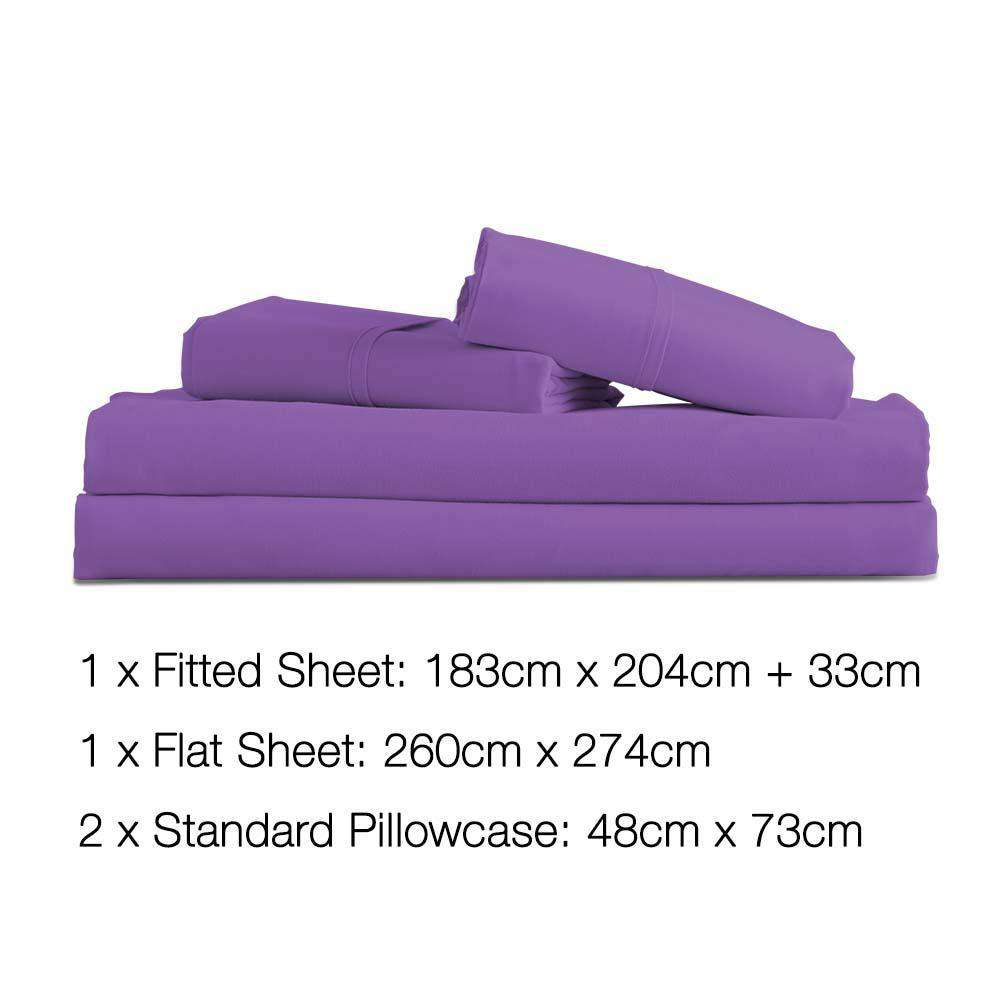 4 Piece Microfibre Sheet Set King – Purple - Desirable Home Living