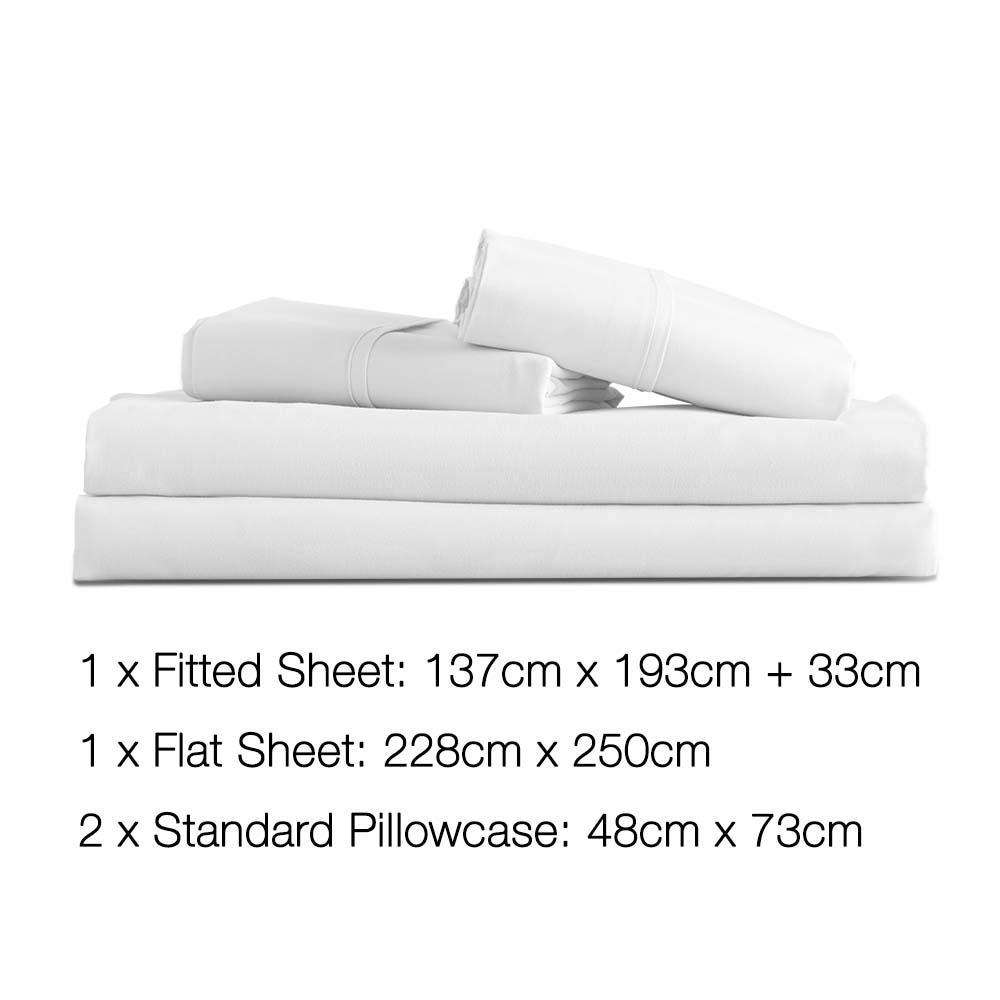 4 Piece Microfibre Sheet Set Double– White - Desirable Home Living