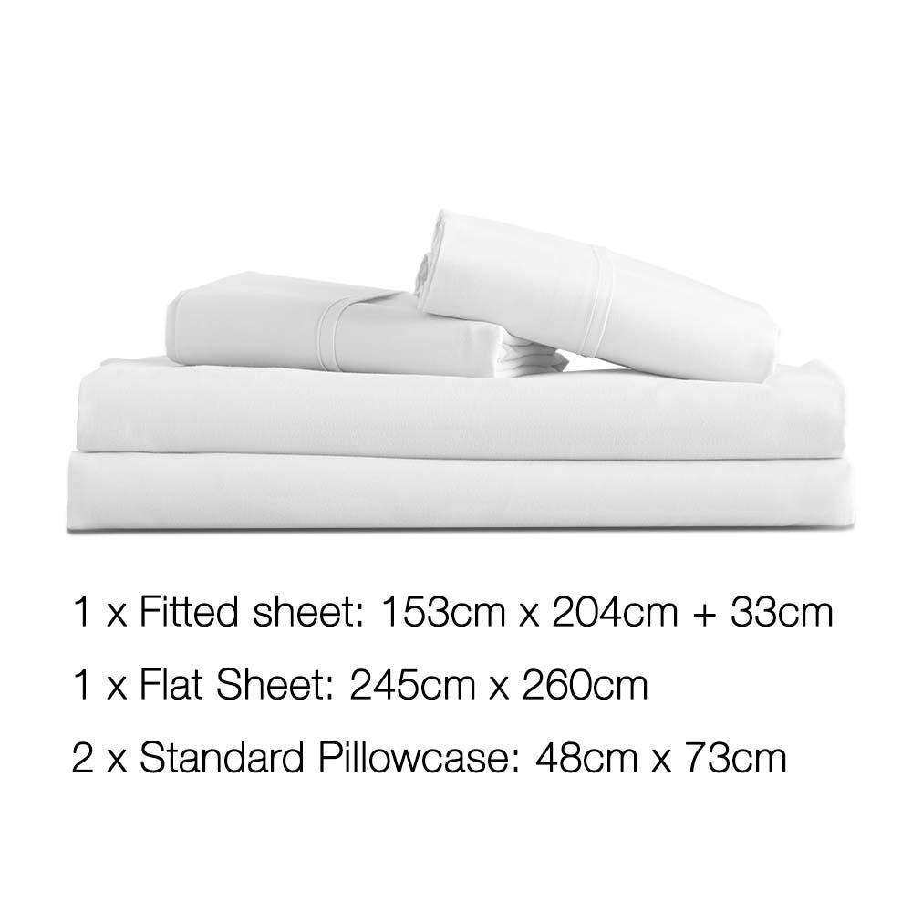 4 Piece Microfibre Sheet Set Queen – White - Desirable Home Living