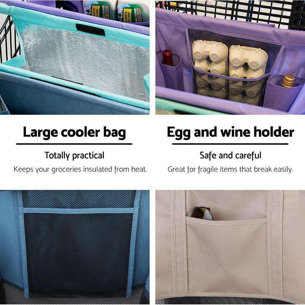 LOTUS Set of 4 Shopping Trolley Bags Reusable Cart Cooler Bag with One Bonus Set
