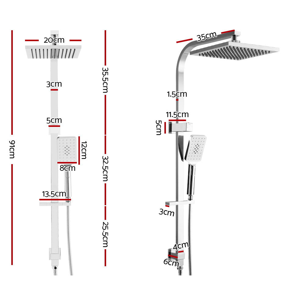 "WELS 8"" Rain Shower Head Set Square Dual Heads Faucet High Pressure Hand Held"
