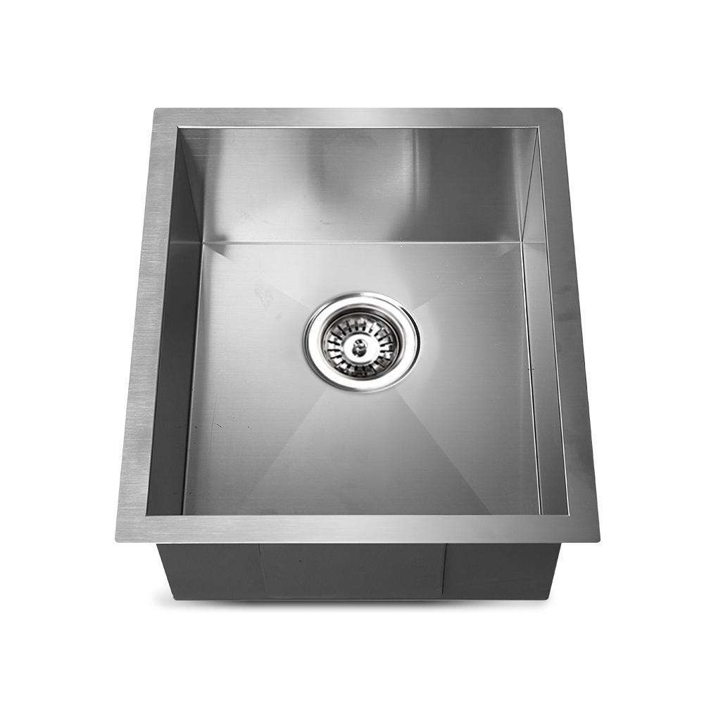 Stainless Steel Kitchen/Laundry Sink w/ Strainer Waste 390 x 450mm - Desirable Home Living
