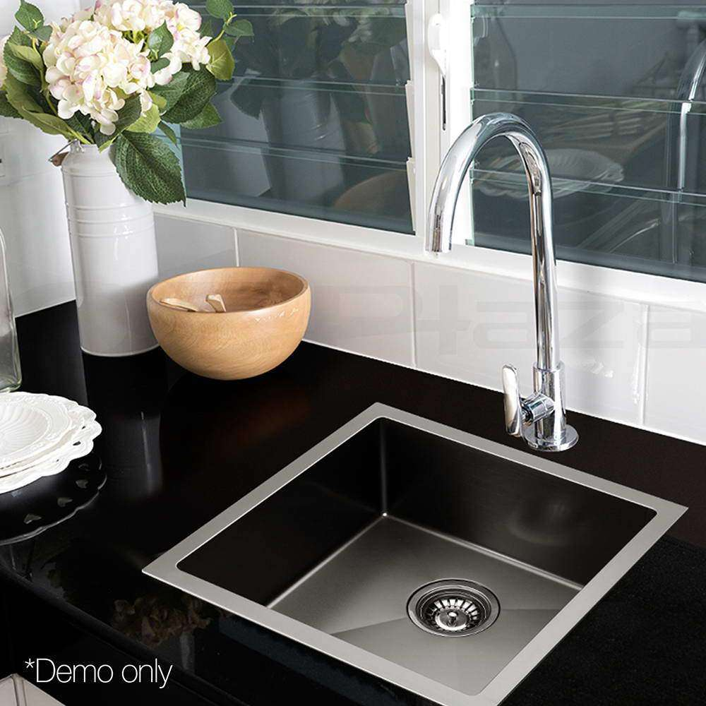 Kitchen Sink with Waste Strainer Black - 44 x 44cm - Desirable Home Living