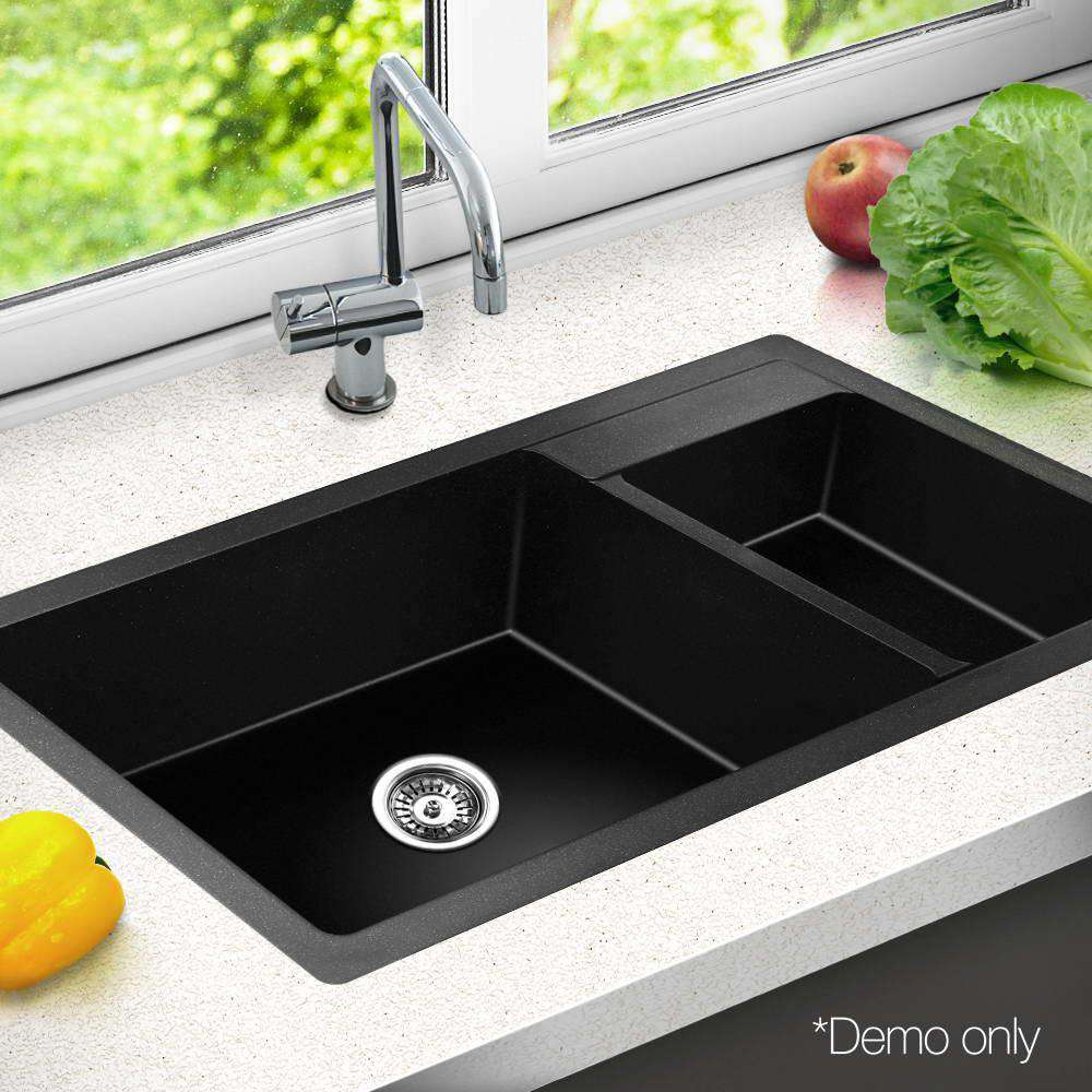 Stone Kitchen Double Sink Black 860 x 500 - Desirable Home Living