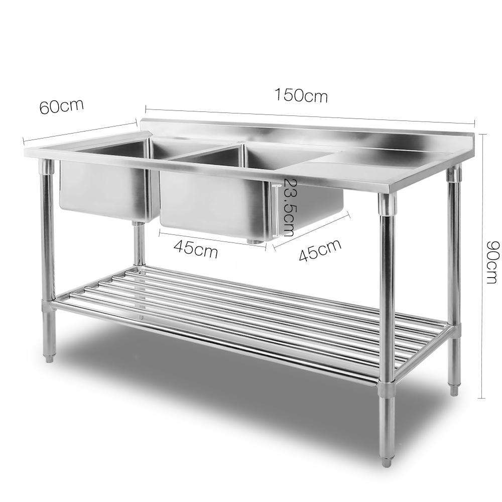 Stainless Steel Sink Bench 150X60 - Desirable Home Living
