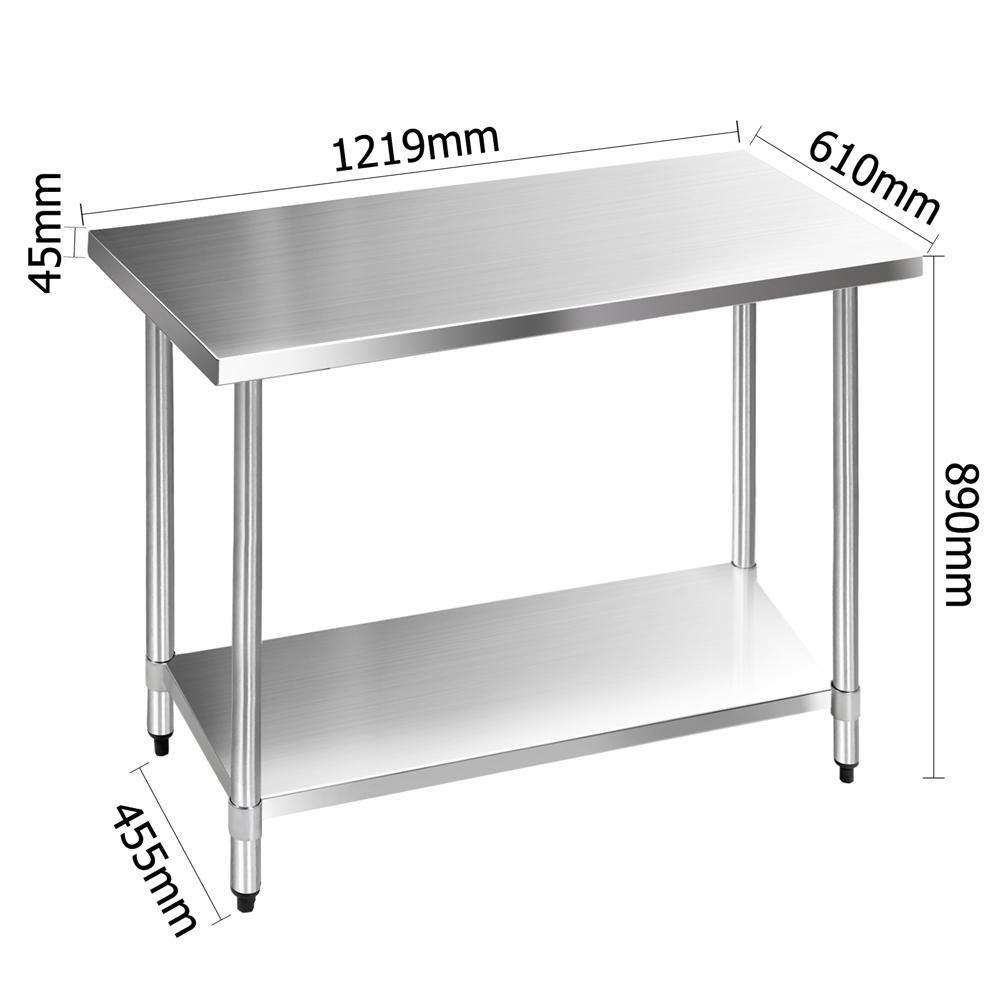 304 Stainless Steel Kitchen Work Bench Table 1219mm - Desirable Home Living