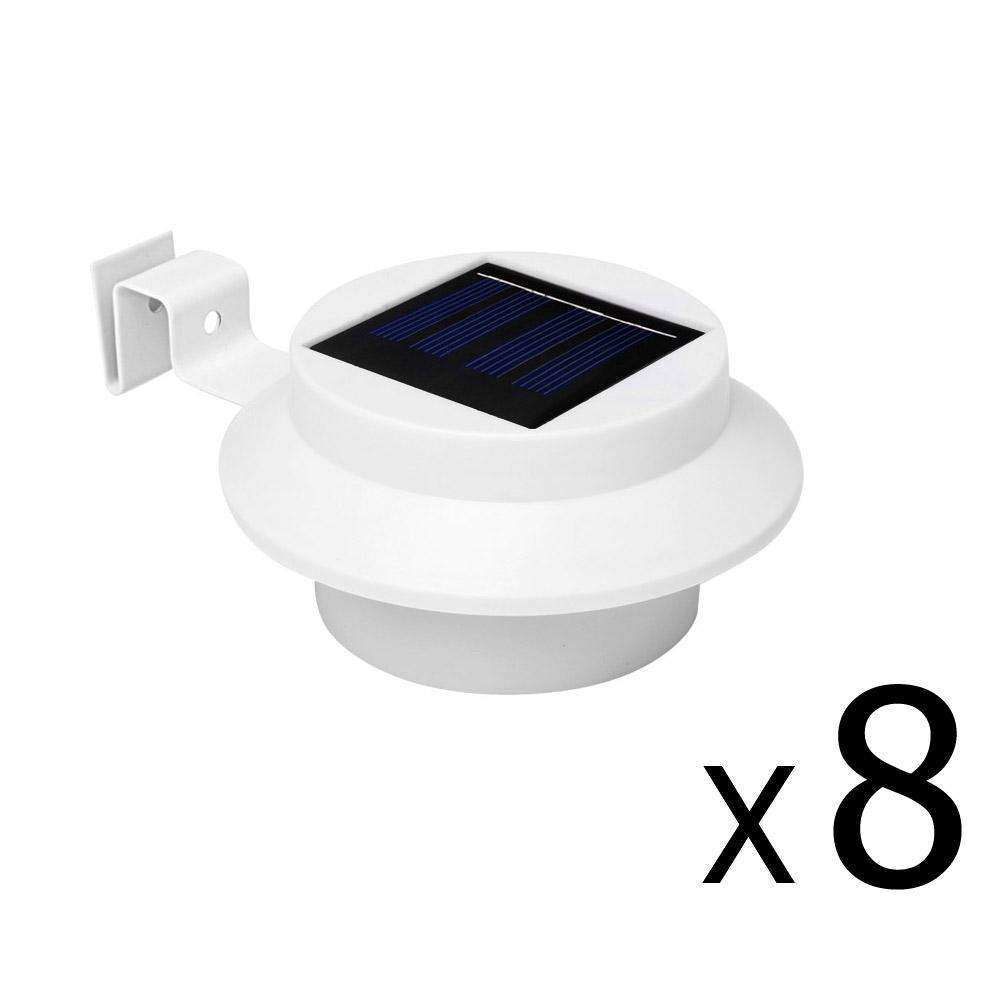 Set of 8 Solar Gutter Light - White